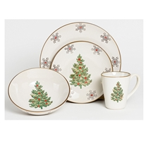 Picture of FRANCOIS ET MIMI-Christmas Dinnerware Setting - (Classic White 4 Piece)