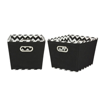 Picture of HOUSEHOLD ESSENTIALS-Medium Tapered Decorative Storage 2 Pack Set Cubby Baskets - (Black Chevron)