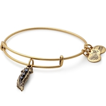 Picture of ALEX AND ANI-Feather Charm Bangle Bracelet - (Rafaelian Gold Finish)