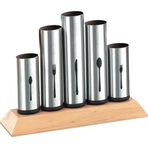 Picture of BRUNTMOR-Stainless Steel Flatware Organizer Holder Caddy with Wood Base