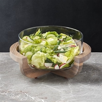 Picture of CRATE&BARREL-Glass Serving Bowl with Wood Stand