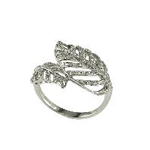 Picture of EFFY-14K White Gold Leaf Diamond Ring