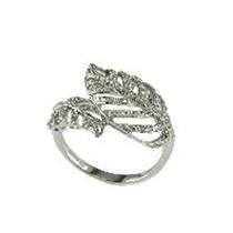Picture of EFFY-14K White Gold Leaf Diamond Ring