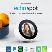 Picture of AMAZON-Echo Spot Smart Speaker with Alexa - (White)