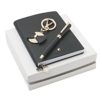 Picture of CACHAREL-Key Ring with Notebook and Pen Set - (Black and Gold)