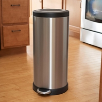Picture of HOUSEHOLD ESSENTIALS-30 Liter Windsor Trash Can - (Stainless Steel/Black Lid)