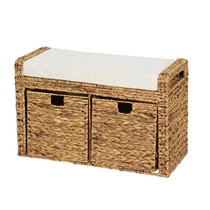 Picture of HOUSEHOLD ESSENTIALS-Wicker Bench Storage Seat with Cubby