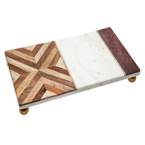 Picture of GODINGER-Wood and Marble Tray with Footer
