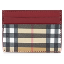 Picture of BURBERRY-Vintage Check E-Canvas Burgundy Leather Card Case