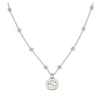 Picture of GUCCI-Interlocking GG Pendant Floral Necklace - (Silver)