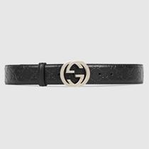 Picture of GUCCI-Mens Signature Black Leather Belt - (Size 36)