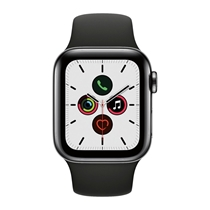 Picture of APPLE-40mm - Series 5 GPS and Cellular Stainless Steel Case with Black Sport Band - (Space Black)