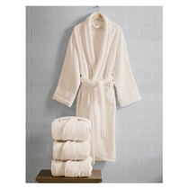 Picture of ESPALMA-Opulence Luxurious Cotton Shawl Collar Robe for Her - (Champagne)