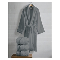 Picture of ESPALMA-Opulence Luxurious Cotton Shawl Collar Robe for Her - (Charcoal Gray)
