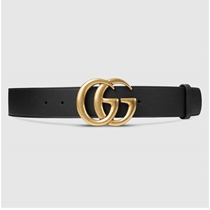Picture of GUCCI-GG Gold Buckle Leather Belt - (Size 38)