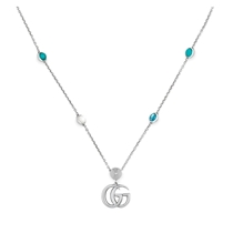 Picture of GUCCI-GG Marmont Mother of Pearl and Topaz Double G Pendant Necklace