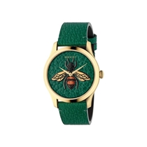 Picture of GUCCI-38mm - Unisex G Timeless Leather Strap Watch - (Green)
