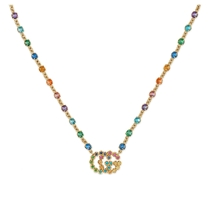 Picture of GUCCI-GG Running Mixed Gemstone Pendant Necklace - (Yellow Gold)