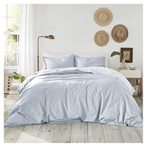 Picture of ATELIER MARTEX-Sateen King Duvet Cover and Shams 3 Piece Set - (Powder Blue)
