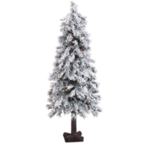 Picture of FRASER HILL-4-Ft. Snowy Alpine Tree with Clear Lights