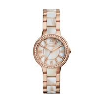 Picture of FOSSIL-Ladies Virginia Rose-Tone and Horn Acetate Watch - (Stainless Steel)