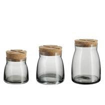 Picture of KOSTA BODA-Bruk Grey Jars set of 3